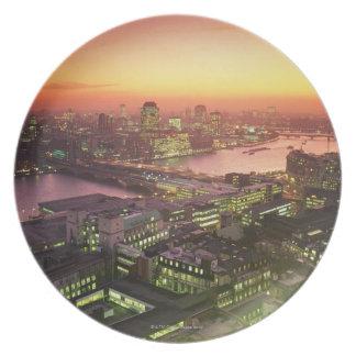 Illuminated Cityscape Plate