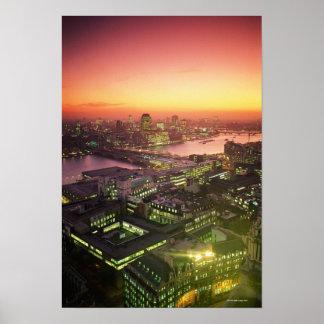 Illuminated Cityscape Poster