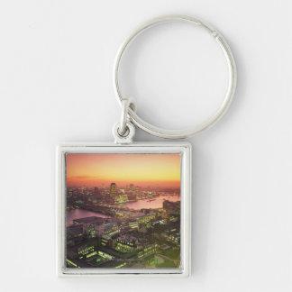 Illuminated Cityscape Silver-Colored Square Key Ring