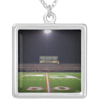 Illuminated Football Field Silver Plated Necklace