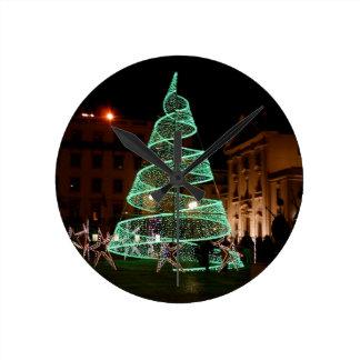 Illuminated Green Christmas Tree Wall Clocks