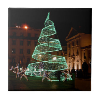 Illuminated Green Christmas Tree Tiles