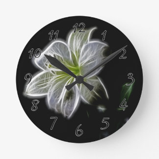 Illuminated like Outline of a White lily Flower Clock