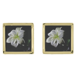 Illuminated like Outline of a White lily Flower Gold Finish Cuff Links