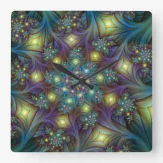 Illuminated, luminous modern Fractal Art Pattern Wall Clock