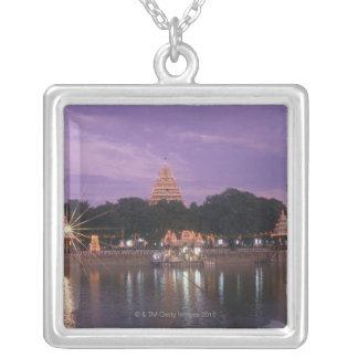 Illuminated Mariamman Teppakulam tank, Madurai, Silver Plated Necklace