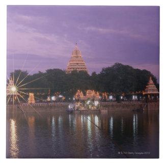 Illuminated Mariamman Teppakulam tank, Madurai, Tile