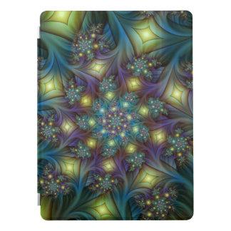 Illuminated modern blue purple Fractal Pattern iPad Pro Cover