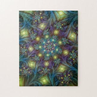 Illuminated modern blue purple Fractal Pattern Jigsaw Puzzle