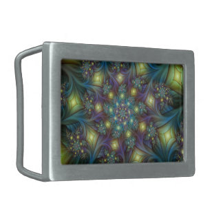 Illuminated modern blue purple Fractal Pattern Rectangular Belt Buckles