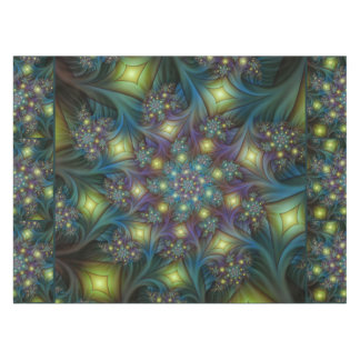 Illuminated modern blue purple Fractal Pattern Tablecloth