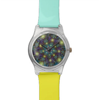 Illuminated modern blue purple Fractal Pattern Watch