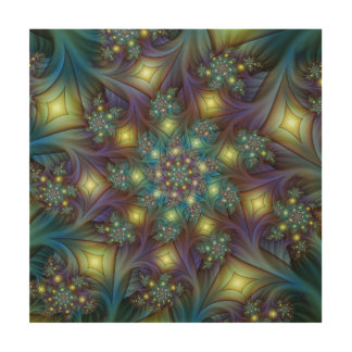 Illuminated modern blue purple Fractal Pattern Wood Wall Art