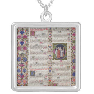 Illuminated page from the Book of Psalms Square Pendant Necklace