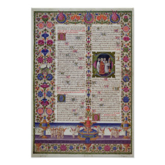Illuminated page from the Book of Psalms Poster