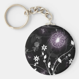 Illuminated Purple butterflies and flowers design Basic Round Button Key Ring