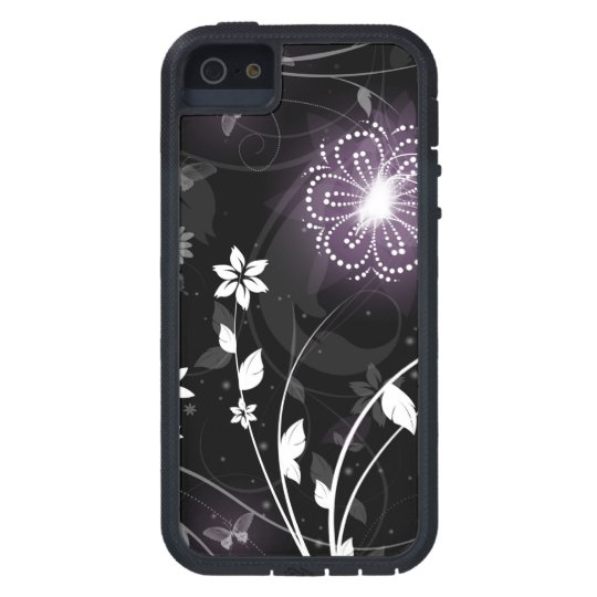 Illuminated Purple butterflies and flowers design iPhone 5