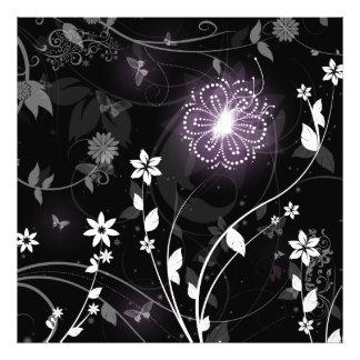Illuminated Purple butterflies and flowers design Photo Art