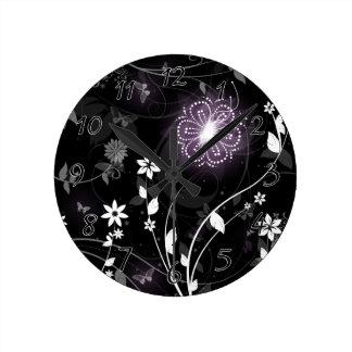 Illuminated Purple butterflies and flowers design Wallclocks