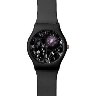 Illuminated Purple butterflies and flowers design Watch
