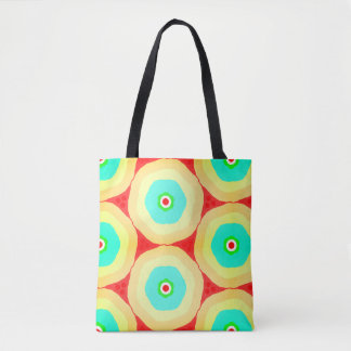 Illuminated retro pastel rings tote bag