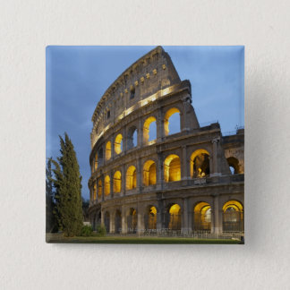 Illuminated section of the Colosseum at dusk. 15 Cm Square Badge