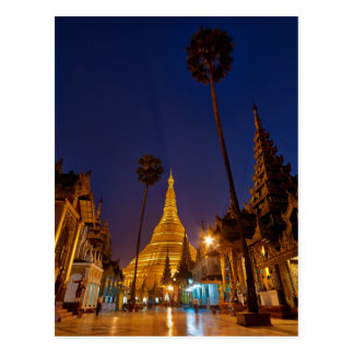illuminated SHWEDAGON PAGODA Postcard
