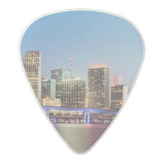 Illuminated skyline of downtown Miami at dusk Acetal Guitar Pick