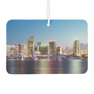 Illuminated skyline of downtown Miami at dusk Car Air Freshener