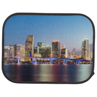 Illuminated skyline of downtown Miami at dusk Car Mat