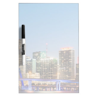 Illuminated skyline of downtown Miami at dusk Dry Erase Board