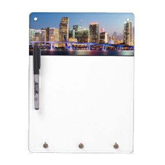Illuminated skyline of downtown Miami at dusk Dry Erase White Board