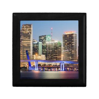 Illuminated skyline of downtown Miami at dusk Gift Box