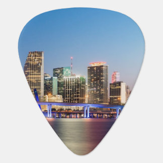 Illuminated skyline of downtown Miami at dusk Guitar Pick