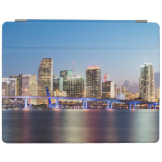 Illuminated skyline of downtown Miami at dusk iPad Cover