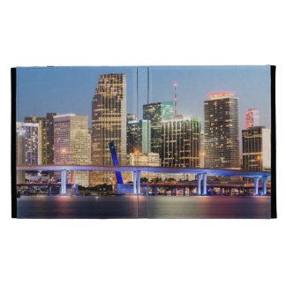 Illuminated skyline of downtown Miami at dusk iPad Folio Cases