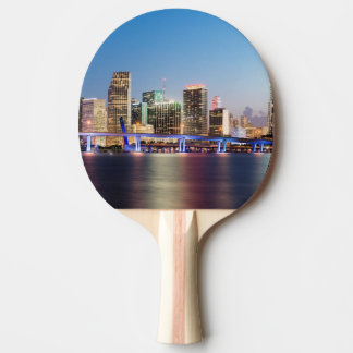 Illuminated skyline of downtown Miami at dusk Ping Pong Paddle