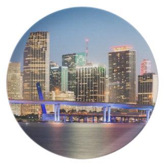 Illuminated skyline of downtown Miami at dusk Plate