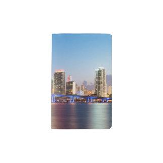 Illuminated skyline of downtown Miami at dusk Pocket Moleskine Notebook