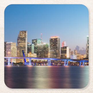 Illuminated skyline of downtown Miami at dusk Square Paper Coaster