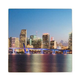 Illuminated skyline of downtown Miami at dusk Wood Coaster