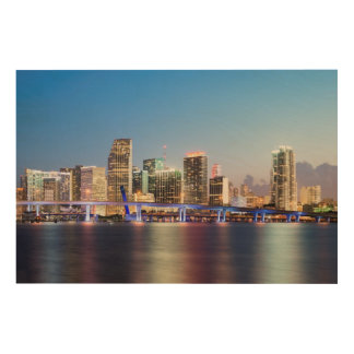 Illuminated skyline of downtown Miami at dusk Wood Wall Decor