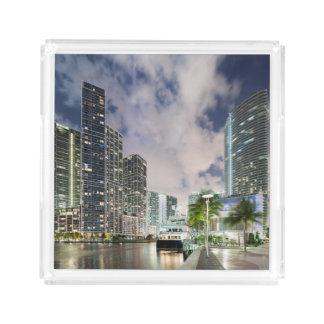 Illuminated towers at the Miami River waterfront Acrylic Tray