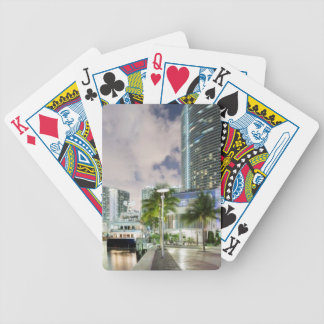 Illuminated towers at the Miami River waterfront Bicycle Playing Cards