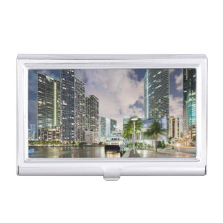 Illuminated towers at the Miami River waterfront Business Card Holder