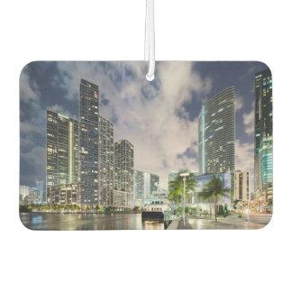Illuminated towers at the Miami River waterfront Car Air Freshener