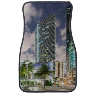 Illuminated towers at the Miami River waterfront Car Mat