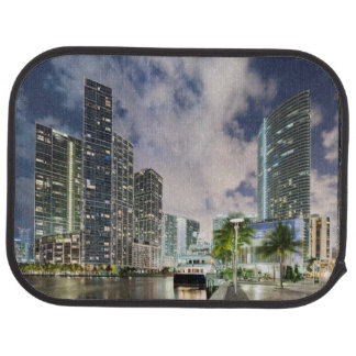 Illuminated towers at the Miami River waterfront Car Mat