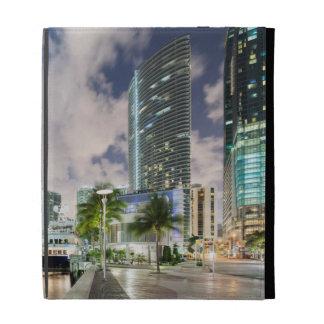 Illuminated towers at the Miami River waterfront iPad Folio Cases