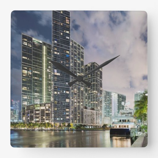 Illuminated towers at the Miami River waterfront Wall Clock